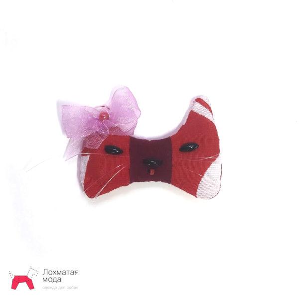 бантик для собаки красный в виде мордочки кошки