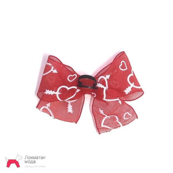 Бантик для собаки красный с сердечками