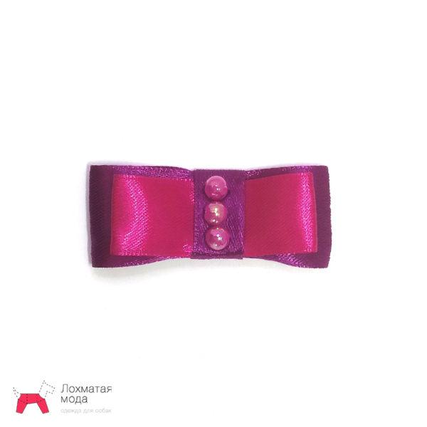 Бантик для собаки розовый с бусинками