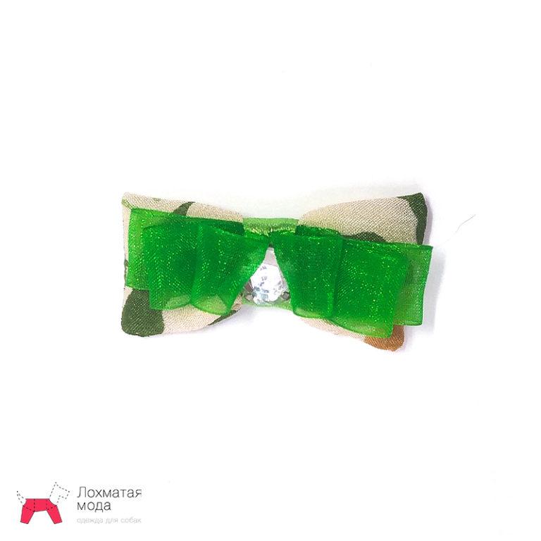 бантик для собаки с зеленой лентой