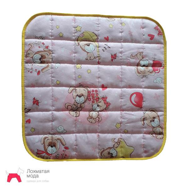 многоразовая пеленка для собак розовая с собачками