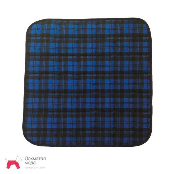 многоразовая пеленка для собак синяя в клетку