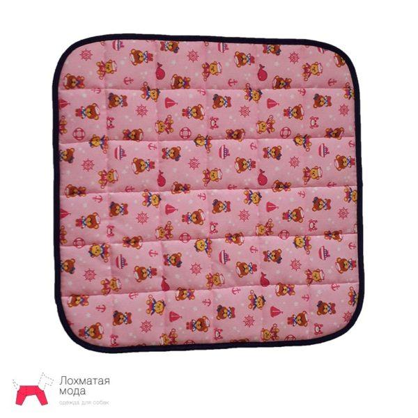 Многоразовая пеленка для собаки розовая с мишками
