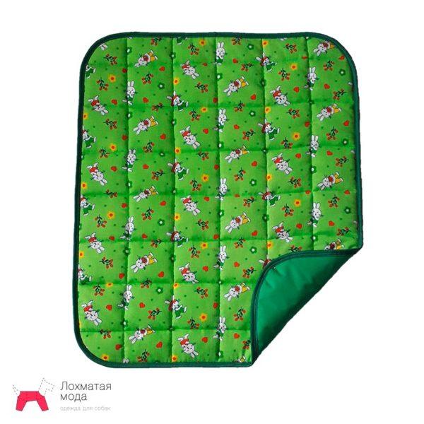 многоразовая пеленка для собаки зеленая с зайчиками