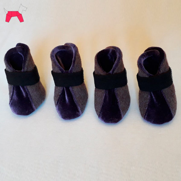 обувь для собак, сапожки сиреневые с бархатной вставкой