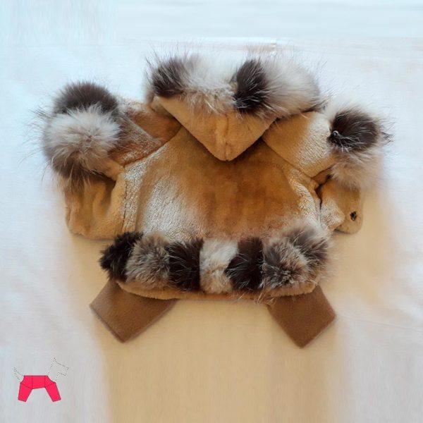 Шуба для собаки натуральный мех с капюшоном со съемными штанишками