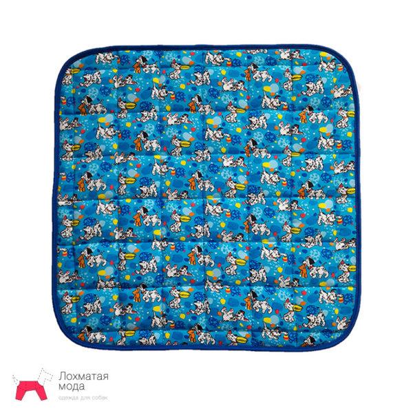 Многоразовая пеленка для собаки голубая с весёлой собачкой